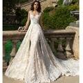 Robe De Mariee 2017 Nova Champagne Sereia Vestidos de Casamento com Trem Destacável Vestidos de Noiva Plus Size 2017 Vestido de Noiva