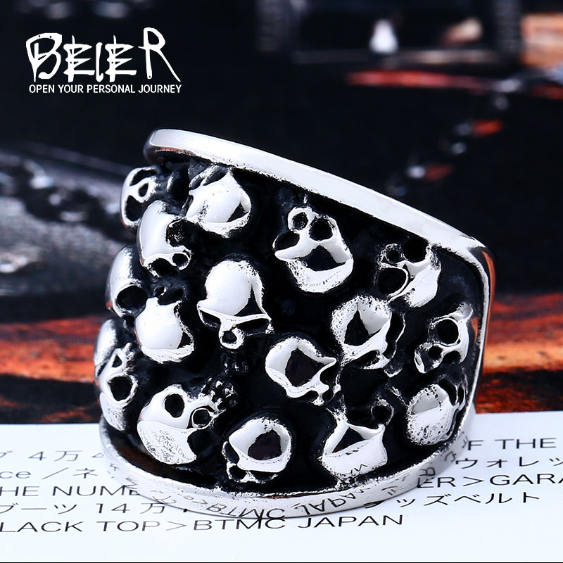 Beier New Store 316L Stainless Steel Men Ring Personality Punk Cluster Skull Ring Men Vintage Fashion Jewelry BR8-247