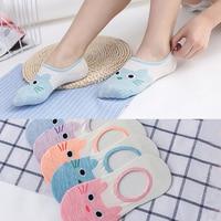 Summer Female Children Boat Socks Pure Cotton Anti Slip Invisible Socks 5 Pairs