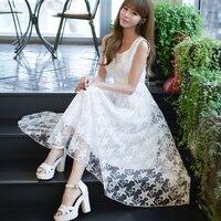 Nowy lato szyfon koronki długi dress wysoka talia ol lady kobiety dress-line bez rękawów tank dress plus rozmiar ślubne