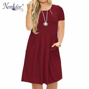 Image 3 - Nemidor 2019 Frauen Solide Oansatz Kurzarm Casual T shirt Kleid Plus Größe 7XL 8XL 9XL Midi Plissee Schaukel Kleid Mit taschen