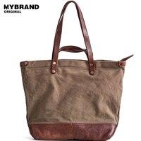MYBRANDORIGINAL сумки высокого качества мужские парусиновые сумка с Винтаж кожа коровы большая емкость сумка для человека модные сумки b146