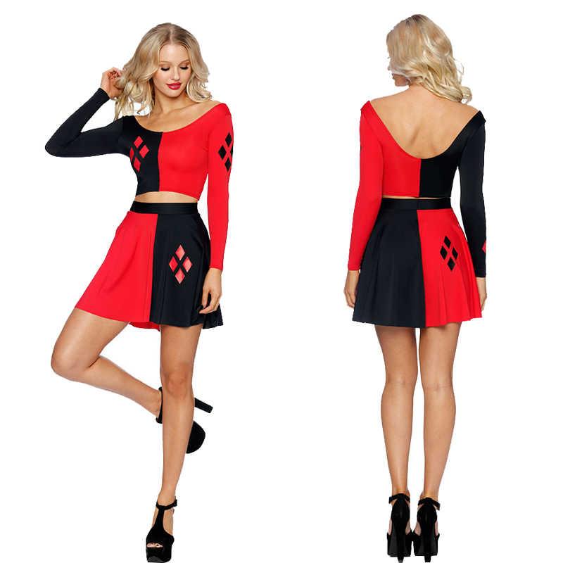 2 個ハーレークイン夏のセクシーな女性コスプレドレスコミック黒赤ハーレークインプリント長袖ベストのスカートの女性プリーツドレス