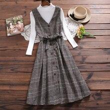 England Style Winter Women Woolen Sundress V Neck Vintage Plaid Sashes Long Sleeveless Shirt Dress Elegant Mori Girl Wool Dress