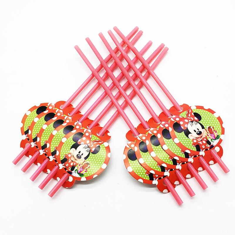 10pcs/lot Minnie Theme Disposable Straws Minnie Theme Birthday Party Supplies Red Minnie Flexible Straws Kids Birthday Deco