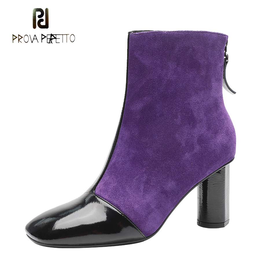 Prova Perfetto purple suede patchwork ankle boots women 2018 winter new square toe mixed color high heels fashion short boots women irresistible suede color patchwork ankle boots round toe chunky heels classic side zip short boots new arrival this year