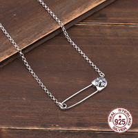 925 sterling silver necklace personality fashion popular cross flower pin chain punk hip hop style to send gifts for lovers hot