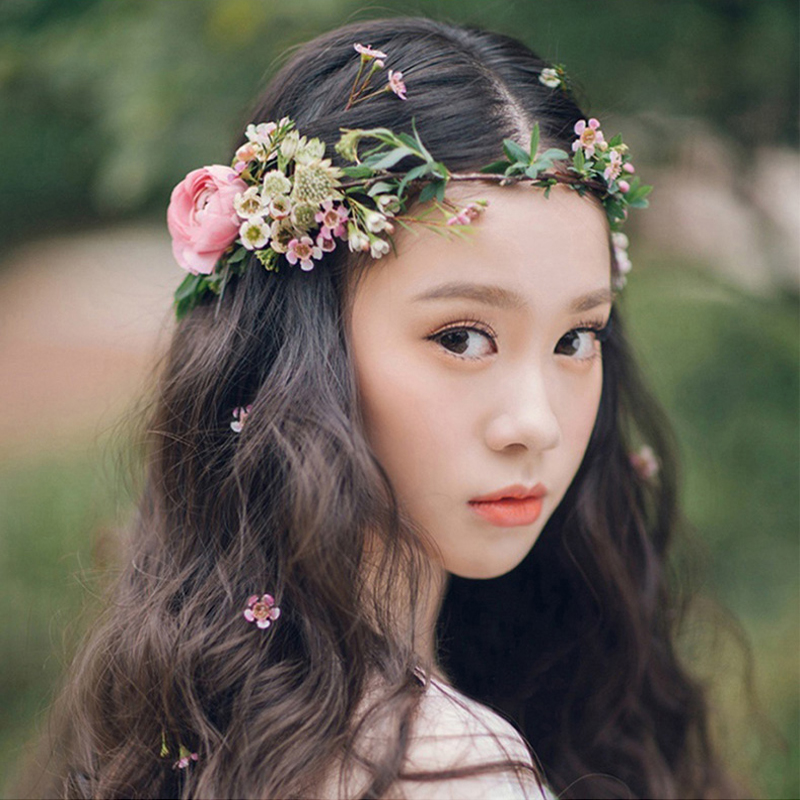 Bride flower wreath headdress ornaments Kids party floral garlands bride headdress flower hair band photography jewelry flower 03 red gold bride wedding hair tiaras ancient chinese empress hat bride hair piece