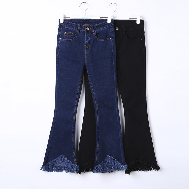 WomensDate 2017 High Quality Girl Autumn Women High Waist Flare Pants Tassel Elastic Wide Leg Pants