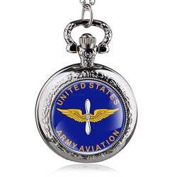 Мода Бронзовый армии США авиации кварцевые карманные часы Винтаж армии Военная Униформа часы с цепочкой подарки для Для мужчин Для женщин