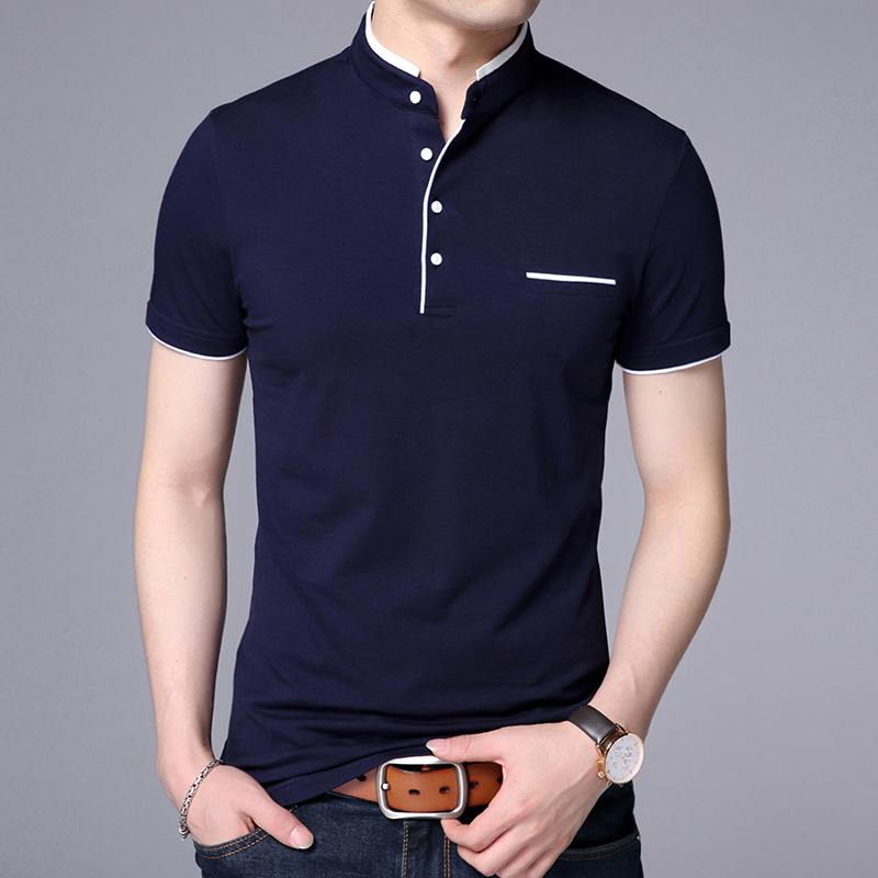2019 New Fashion Brand   Polo   Shirt Men's Summer Mandarin Collar Slim Fit Solid Color Button Breathable   Polos   Casual Men Clothing