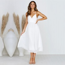 2019 summer new European and American fashion three-dimensional finale pleated dress sexy sling V-neck wrapped chest femal