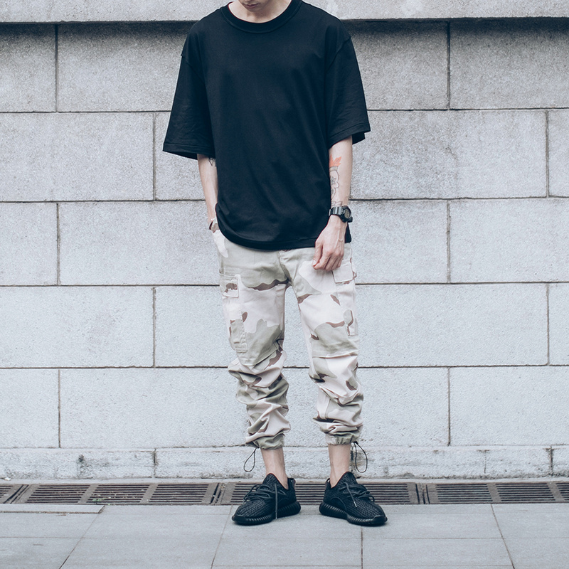 2017 Streetwear Mens Camel Camouflage Multi-pocket Military Pant Loose Comfortable Cargo Trousers Joggers Hip Hop M-3XL