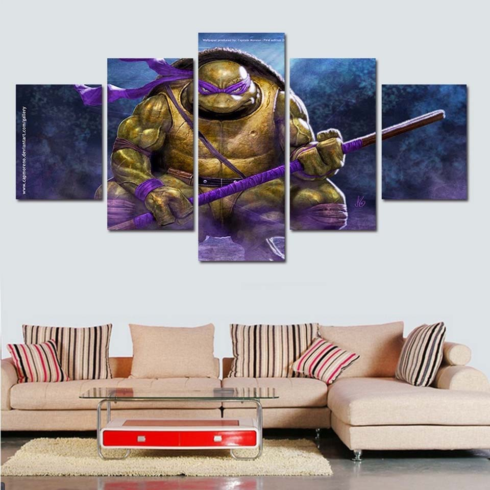 Home Decor Modular Art Wall Painting Printed Poster HD 5 Panel Teenage Mutant Ninja Turtles Living Room Pictures Canvas Frame