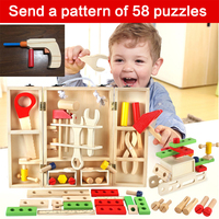 TEECHON New House Wooden Puzzle Children Toy Toolbox Service Simulation Toolbox Nut Toolbox Drop Shipping