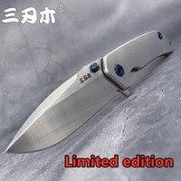 Sanrenmu 9008 tz tc4 titânio bolso lâmina dobrável faca 12c27 lâmina de acampamento ao ar livre sobrevivência caça tático ferramenta pesca edc|Facas| |  -