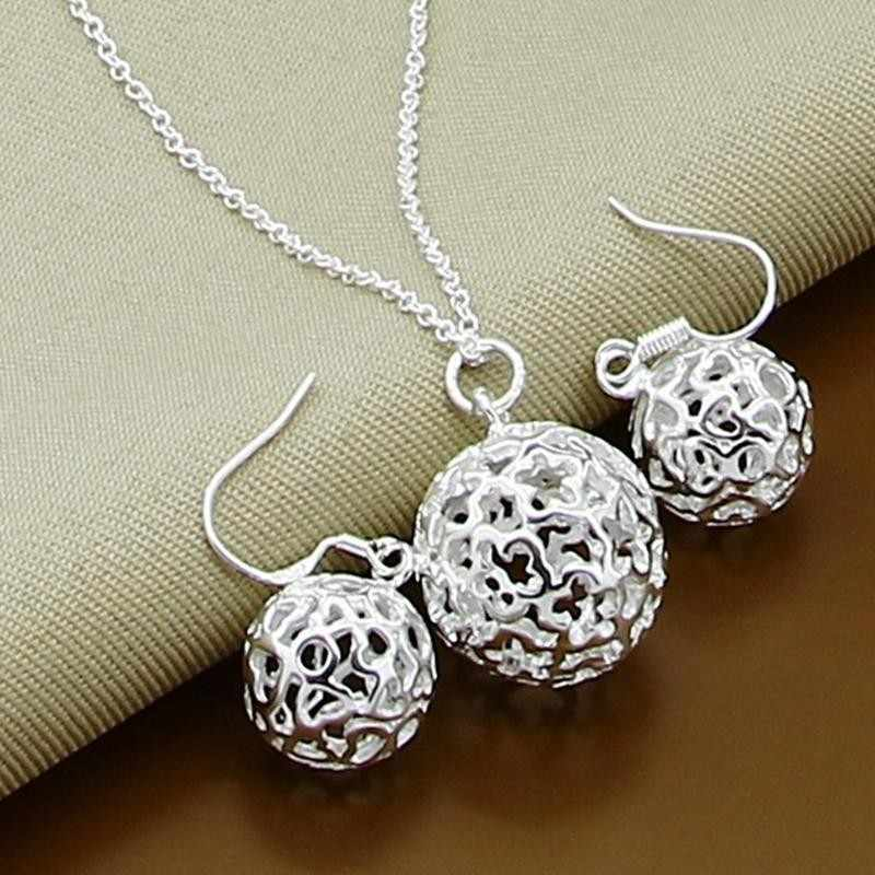 2016 Hot Hollow Ball Set Fashion 925 stamped silver plated Jewelry Necklaces Earrings bracelet 18inch Women lose money