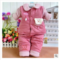 Autumn and winter thicken baby infant clothing set children padded jacket trousers two piece boy and girl cotton coat suit set