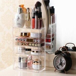 Image 2 - Nowy przezroczysty akrylowy organizator na przybory do makijażu lakier do paznokci szminka kosmetyczny uchwyt na próbki Makeup Brush Make Up Storage Organizer Box półka