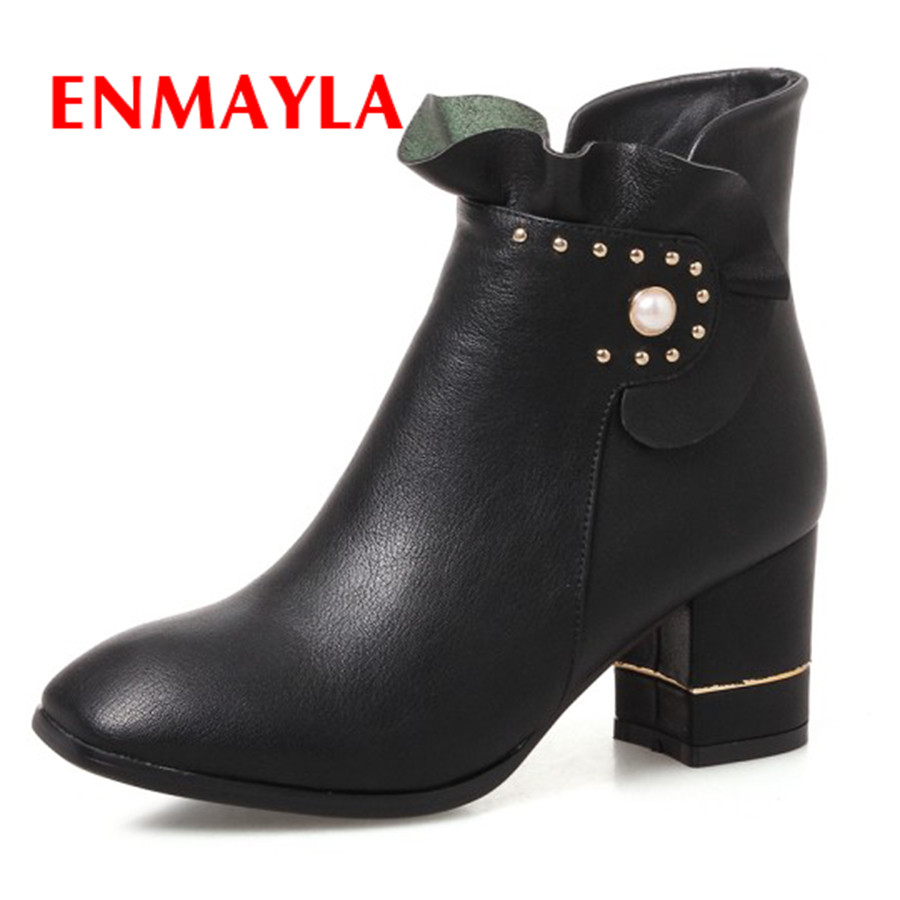 ENMAYLA 2017 Womens Casual Boots New Square Heel Spring Autumn Zipper PU Shoes Round Toe Black Rubber Crystal Fashion Boots enmayla new lace up boots for women western solid pu shoes pointed toe spring autumn boots 34 43 womens fashion dating shoes