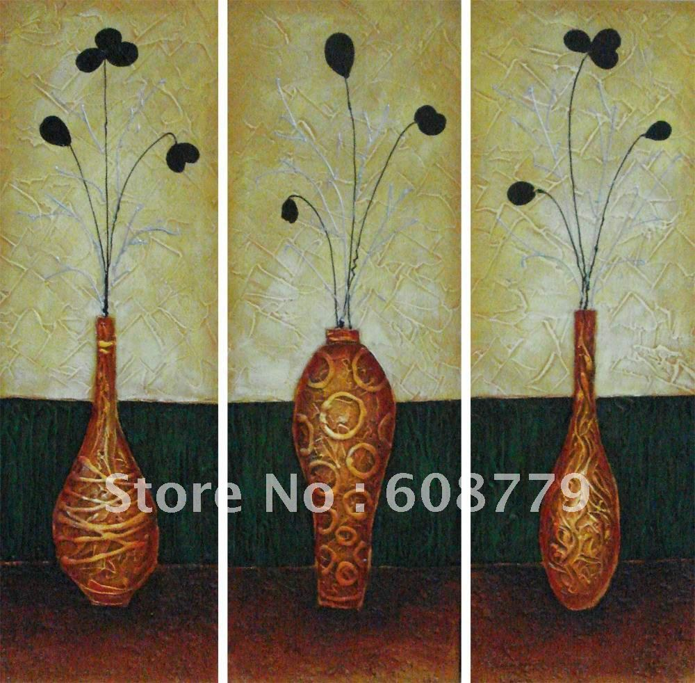Free shipping stretched handpainted flower in vase oil paintingFree shipping stretched handpainted flower in vase oil painting