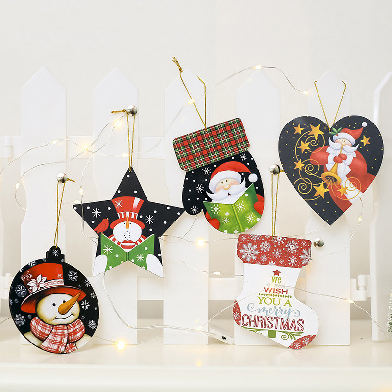 1Pc Cute Santa Claus Snowman Printed Wooden Christmas Sign Decorations for Home Various Shape Hanging Chrismas Ornaments Pendant in Pendant Drop Ornaments from Home Garden
