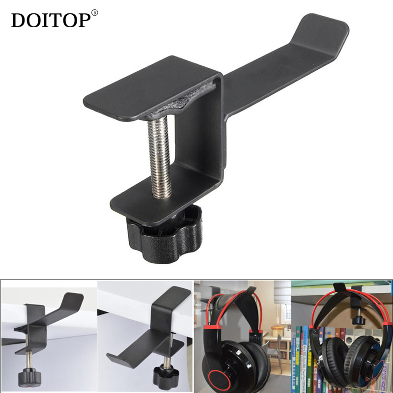 DOITOP Metal Headphone Headset Stand Holder Computer Desk Bookshelf Mount Hanger Hook Earphones Shelf Rack Headphone Stand Clip