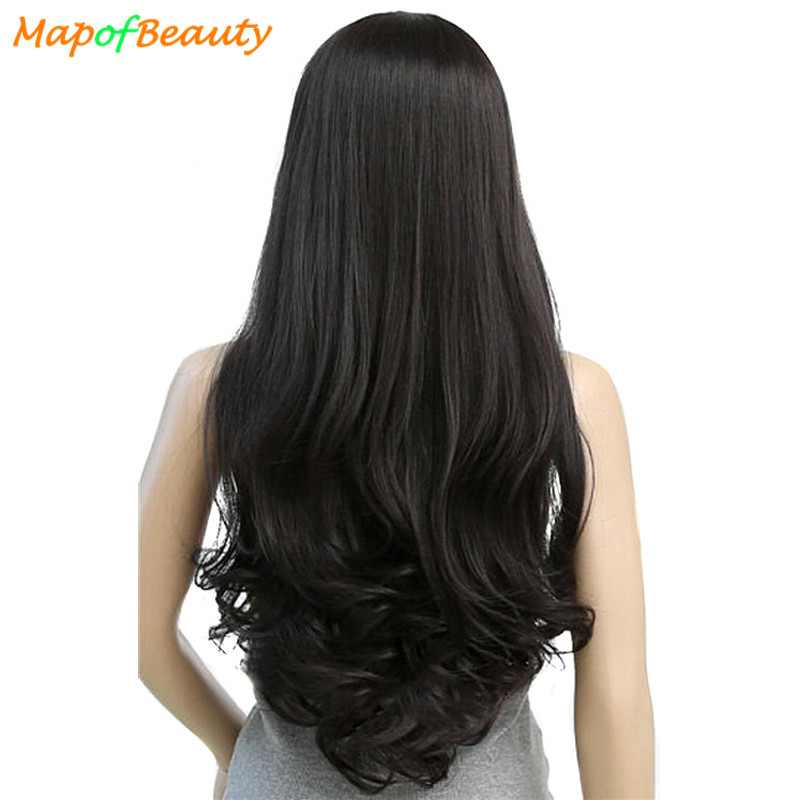MapofBeauty 30″ Long Loose Wave Wigs For Women Heat Resistant Black Light Dark Brown Color Synthetic Hair Cosplay Fake Hairpiece