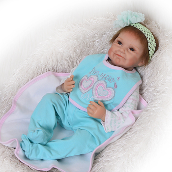 22inch Reborn silicone vinyl Baby Doll Kids Playmate fashion design lifelike doll for Bouquets Doll baby reborn Toys for sale