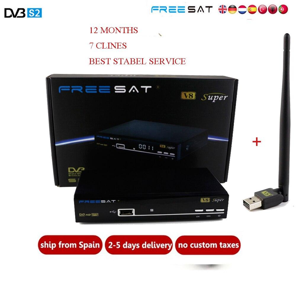 Freesat V8 super receptor satellite FTA DVB-S2 1080p Full HD 3G IPTV Satellite Receiver+1pc USB WIFI+1 Year Europe clines Server