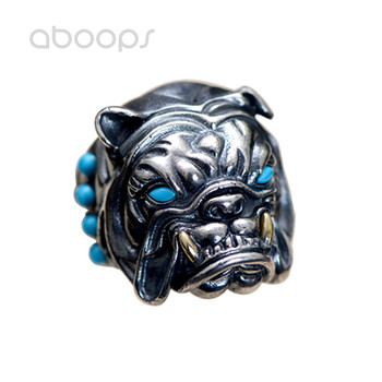 Vintage Black 925 Sterling Silver French Bulldog Ring Jewelry with Red Blue Stone for Men Adjustable Free Shipping