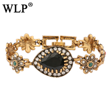 2018 WLP Hot Retro Style Gold Bracelet Inlaid Teardrop-Shaped Resin Gem Luxury Temperament Jewelry  Gifts For Women S0018