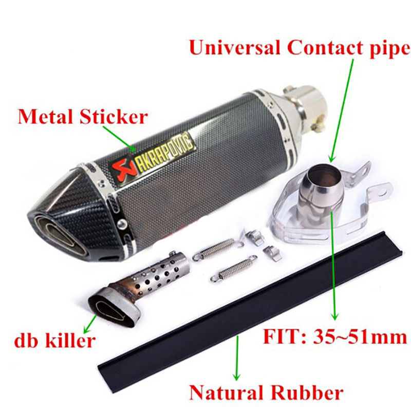 ETbotu Universal Motorcycle Modified Scooter Exhaust Muffle Pipe for Motorbike GY6 CBR CBR125 CBR250 CB400 CB600 YZF FZ400 Z750 D