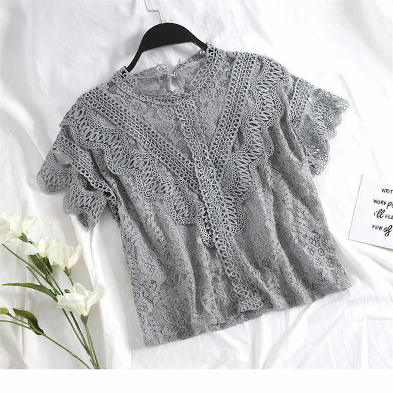 Tweedelige 2019 Vrouwen Bloemen Mesh Blouse Zomer Herfst Sweet Hollow Out Lace Shirt Vrouwelijke Korte Mouwen Blouses Korte Tops AB1451