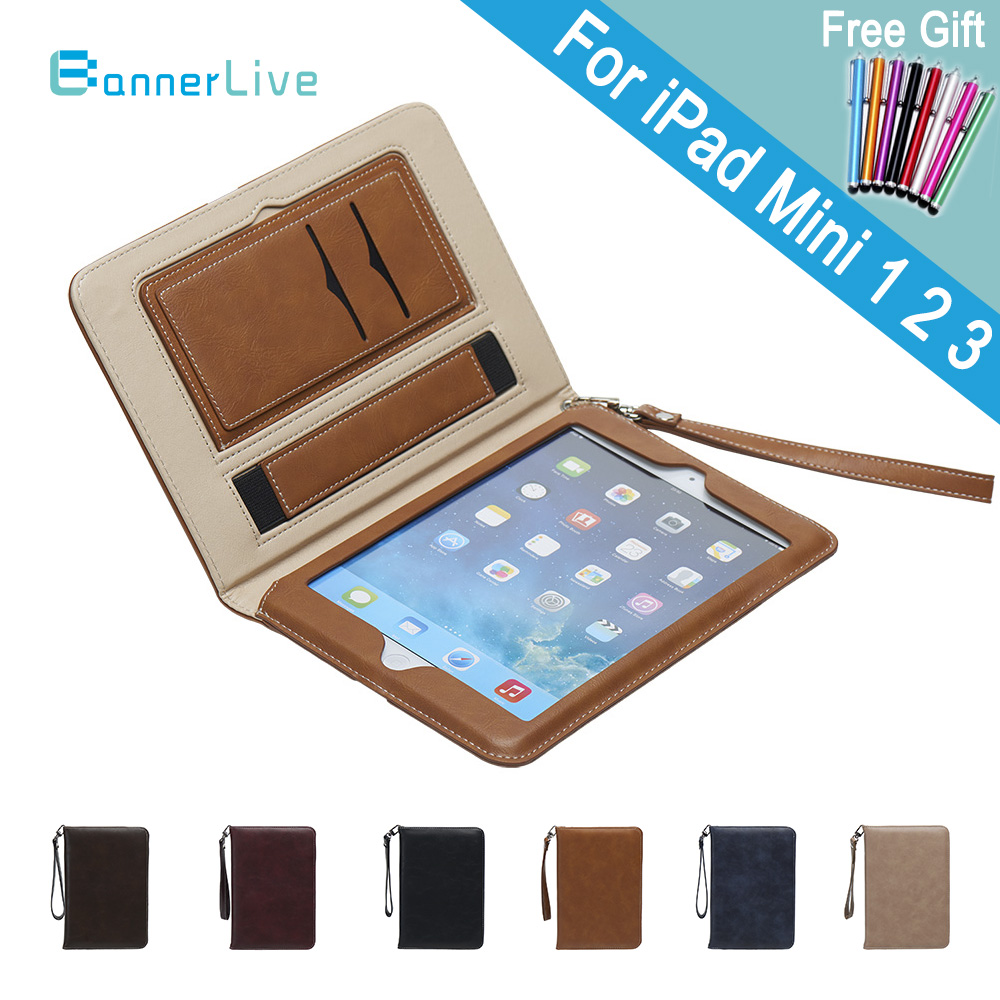 Luxe PU Étui En Cuir pour iPad Mini 2 3 1 Rétro Serviette Auto Réveil Sommeil Ceinture De Support de Main Stand sacs Couverture pour iPad Mini2