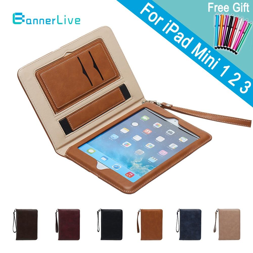 Luxus PU Ledertasche für iPad Mini 2 3 1 Retro Aktentasche Auto Wake Up Schlaf Hand Gürtel Halter Stehen taschen Abdeckung für iPad Mini2