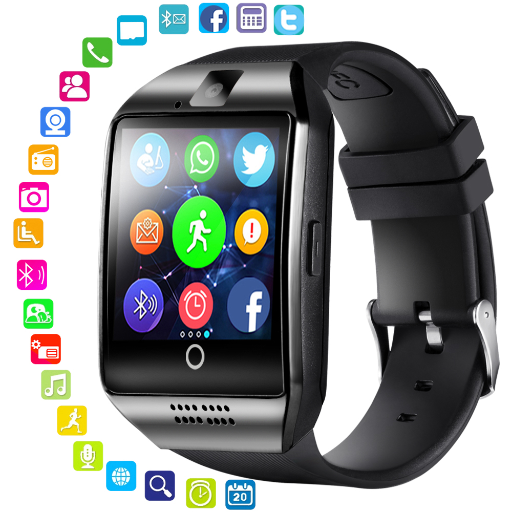 LEMFO Bluetooth Smart Watch hombres Q18 con pantalla táctil Batería grande TF tarjeta Sim cámara para Android Phone Smartwatch