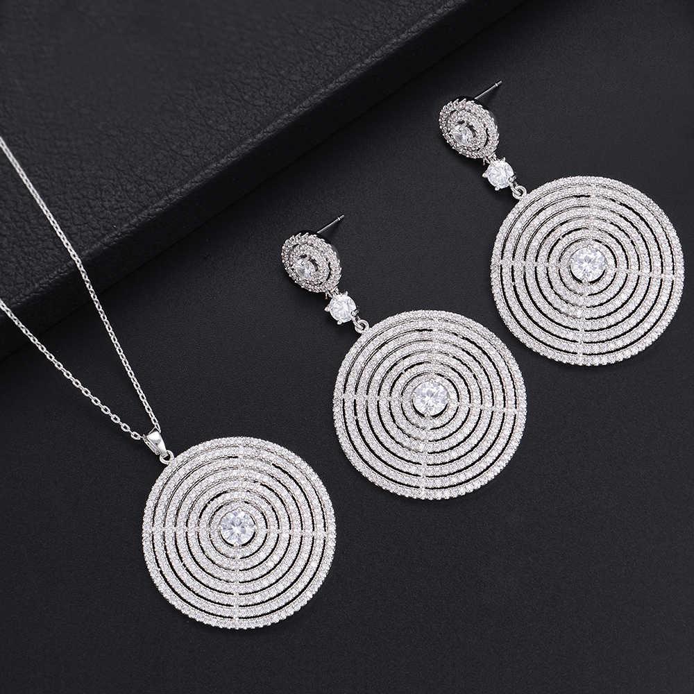 Mode argent rond maille creux Dangle boucles d'oreilles collier ensembles pour femmes mariage bijoux de fiançailles