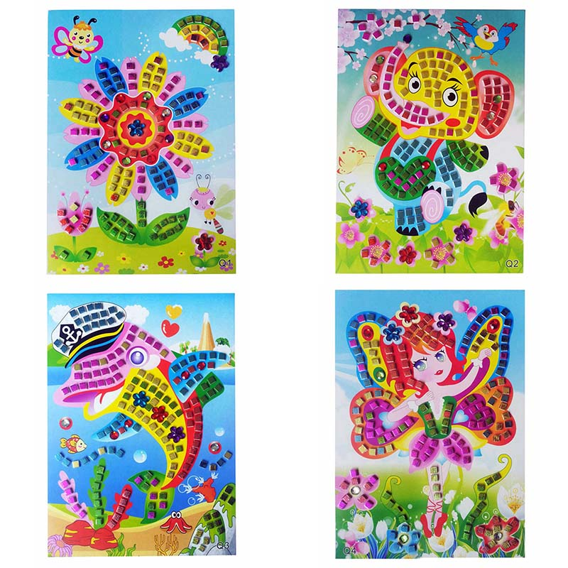 HOT SALE 12 Colors 3D Children Puzzle DIY Crystal Mosaic Sticker Kids Children Kindergarten Educational Arts and Crafts Toys(China)