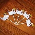5 шт., украшения для торта в виде белого лебедя