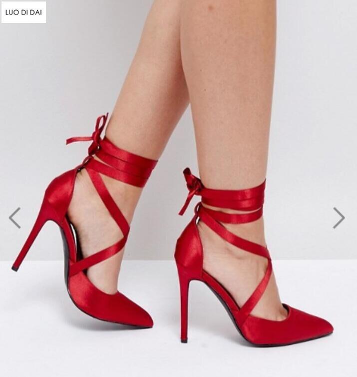 a0b481f71a7e87 La Point Toe À 2019 Bride Pompes Chaussures Soirée Nouveauté Satin Hauts  Rouge Mince Femmes Talons ...
