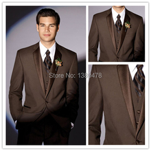 Custom Made Brown Groom Tuxedos Notch Collar Groomsmen Men Wedding Suits(Jacket+Pants+Tie+Vest)Free Shipping