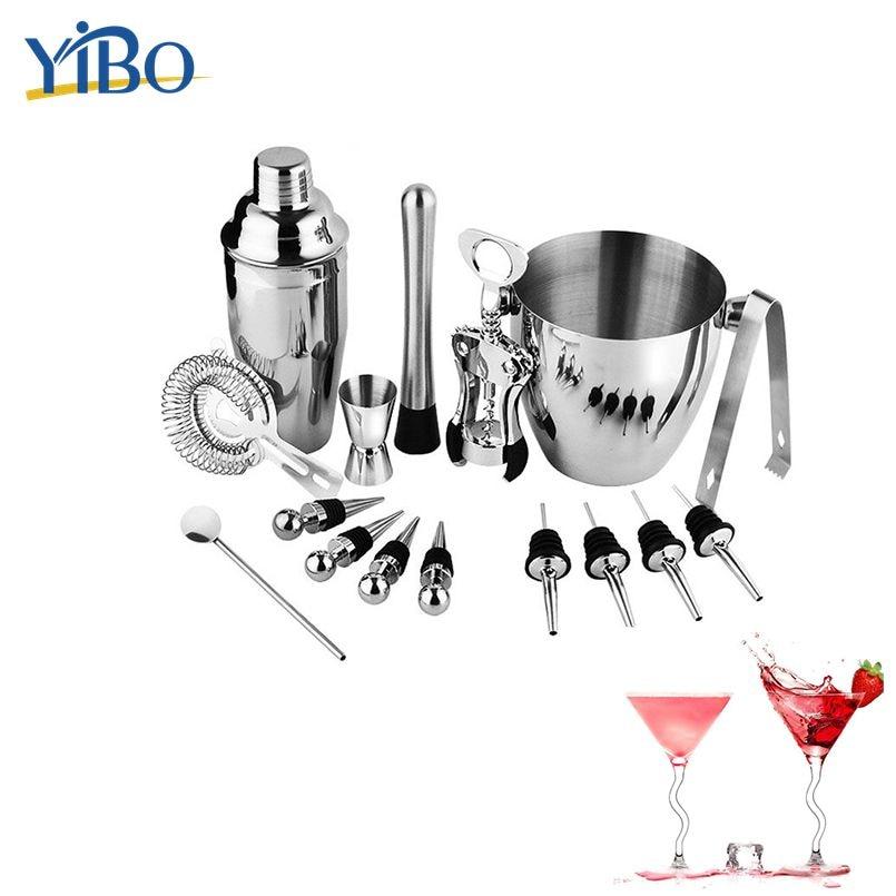 YIBO Stainless Steel Bar Tool Set Cocktail Shaker Boston Bartender Kit Cup Jigger Spoon Pourer Straw & Ice tong Barwarwe