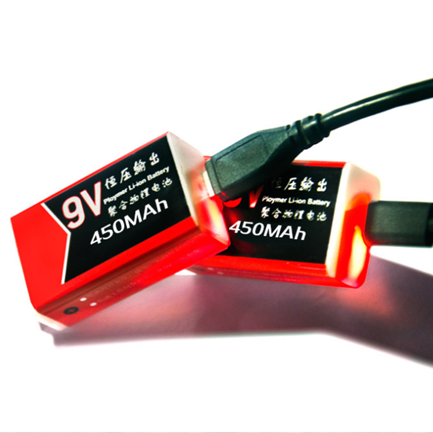 2pcs New 9V 450mAh USB Rechargeable 9V Lithium Battery for Alarm Microphone Medical Device Accessories