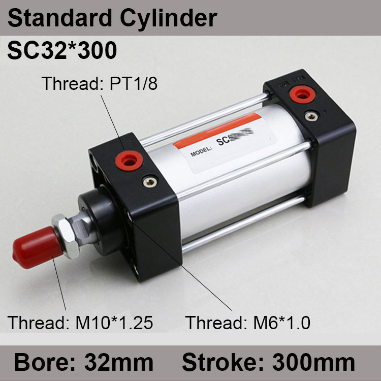 SC32*300 SC Series Standard Air Cylinders Valve 32mm Bore 300mm Stroke SC32-300 Single Rod Double Acting Pneumatic Cylinder strtg6153 to 220f