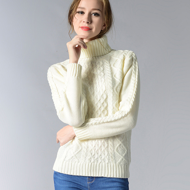 female winter autumn pullover turtleneck knitted full sleeve warm loose sweater #fashion #winter #autumn