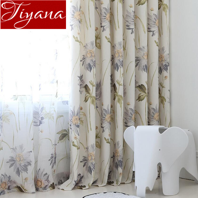 Floral Curtain For Living Room Print Voile For Window Bedroom Linen Curtain Blackout Drapes Kitchen Treatment Pastoral X513 #30
