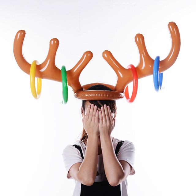 8671f188b8fbc Santa Funny Reindeer Antler Christmas Toy Inflatable Reindeer Christmas Hat  Antler Ring Toss Holiday Party Game Toys Christmas-in Christmas Hats from  Home ...