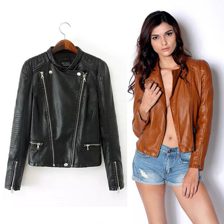 Brand Motorcycle Faux Leather Jacket Women Leather Jackets ...
