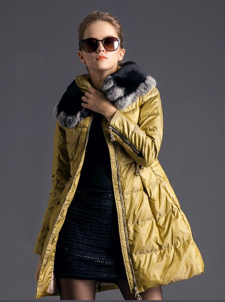 2017 Женский пуховик на утином пуху с капюшоном из кролика Рекс, Модная тонкая теплая куртка средней длины для леди, желтый, розовый, оранжевый